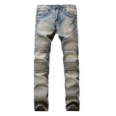 Men's Stretchy Ripped Slim Fit Biker Jeans Destroyed Straight Denim Pants Skinny