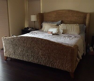 King Size Twisted Rattan Bed. Includes Headboad, Footboard, And Sideboards