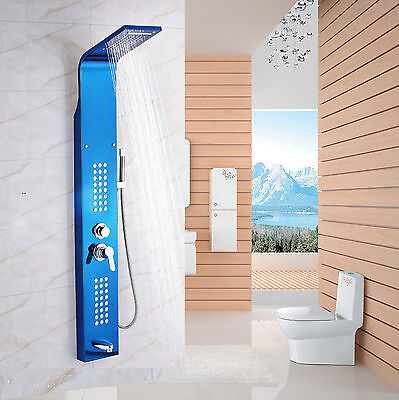 Blue Shower Panel Tower Waterfall &Rain With Massage Body Jet Tub Filler Mix Tap