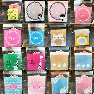 AU 100Pcs Plastic Party Wedding Favours Gift Bag Cookies Candy Self Adhesive