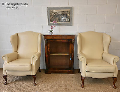 Pair Of Cream Leather Wing Backed Armchairs Sherborne Kensington