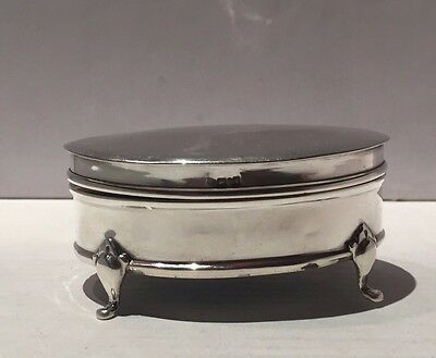Henry Clifford Davis Antique Solid Silver Jewellery Ring Box Birmingham 1906