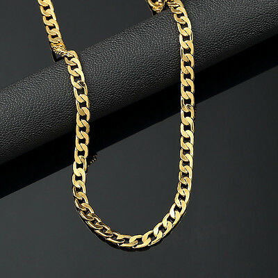 Fashion Jewelry 18K Yellow Gold Plated 24in Cuban Chain Mens Necklace 5MM US