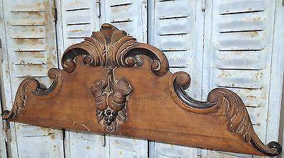 CARVED WOOD PEDIMENT ANTIQUE FRENCH WEATHERED FRUIT SALVAGED CARVING CREST 19 th