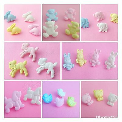 10 Baby Buttons Rabbit, Elephant, Teddy, Cats, Ducks, Lambs, Poodle shank button