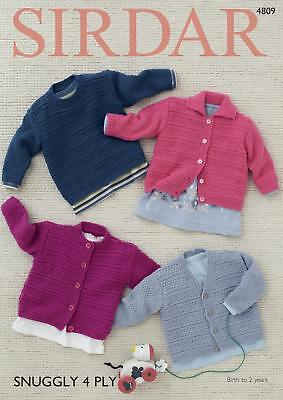 Sirdar 4809 Knitting Pattern Babys Cardigan and Sweater in Sirdar Snuggly 4 Ply