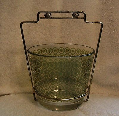 Vintage Jeannette Green Daisies on Clear Glass Ice Bucket with Brass Holder