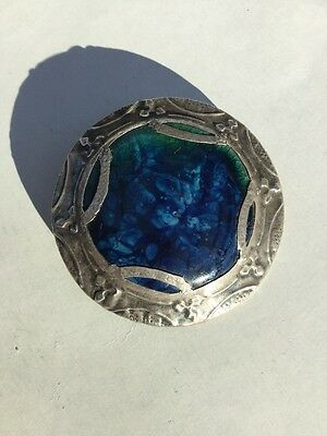 Vintage Blue & Green Ruskin Style Pewter Brooch - Arts & Crafts