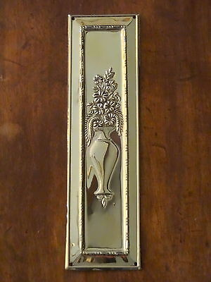 Reclaimed Brass Arts & Crafts Finger Door Push Plates Fingerplate