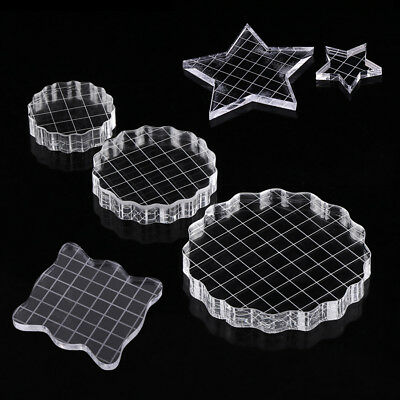 Thicken Clear Acrylic Stamping Blocks Set Grid Grip Scrapbooking Crafts Making