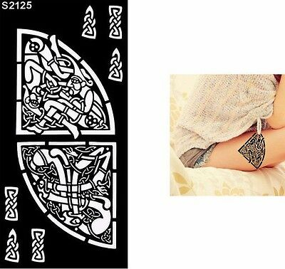 Indian Festival Temporary Tattoo Henna Arm Hand Stencils Reusable Template UK