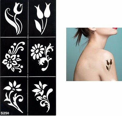Flowers Festival Temporary Tattoo Henna Arm Hand Stencils Reusable Template UK