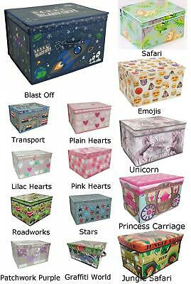 Kids Children's Storage Boxes With Lids Toy Chests Canvas Fabric Girls Boys NEW