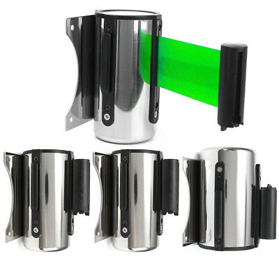 Green Belt Stanchion Queue Barrier Wall Mount Crowd Control Retractable Ribbon