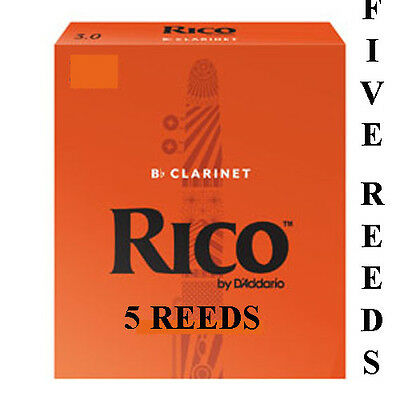 5 Rico Orange Bb Clarinet Reeds Available Strengths 1.5 2 2.5 3 or 3.5 Free Del