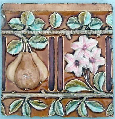 Unusual Run of Colourful Antique Victorian Majolica High Relief  Floral Tiles