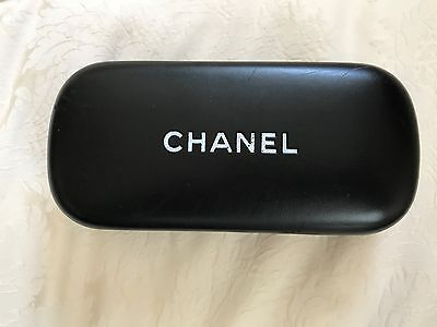 """CHANEL Black Sunglass Case Hard Form Rounded Edges 6"""" x 3"""" x 1.5"""""""