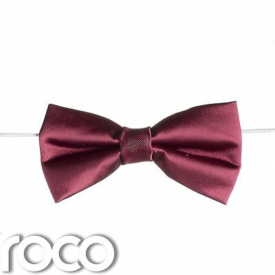 Boys Burgundy Elasticated Dickie Bow Tie Page Boy Wedding Prom Dickie Bows