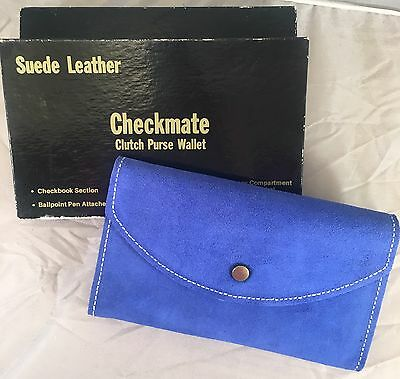 Vintage Checkmate NEW Blue Suede Leather Clutch Purse Wallet w/ Box!!! Check.