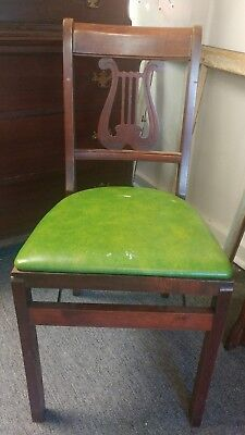 Unusual Set of 4 Green Stakmore Folding Chairs
