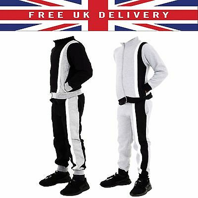 Boys Junior Contrast STRIPPED Bottom Joggers FIT Sports Fleece Tracksuit Set UK