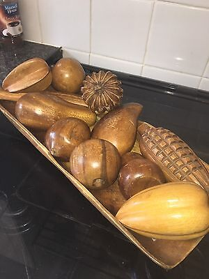 Vintage Wooden Fruit bowl And Wooden Fruit
