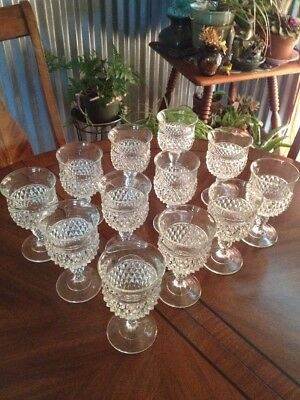 Wine Goblets Indiana Glass Diamond Point Pressed Pattern Lot Of 12 MCM