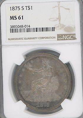 1875-S Trade DOLLAR GRADED BY  NGC AS  MS61    WELL STRUCK  TONED