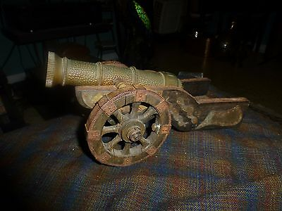 Antique Replica Miniature CANNON HAMMERED BRASS BRONZE Wood & Iron Hand Crafted