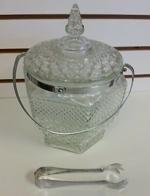 Vintage Anchor Hocking ice bucket with lid and handle
