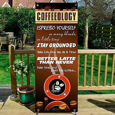 COFFEEOLOGY, COFFEE BANNER DISPLAY SYSTEM Free Standing, Coffee Sign, BROWN