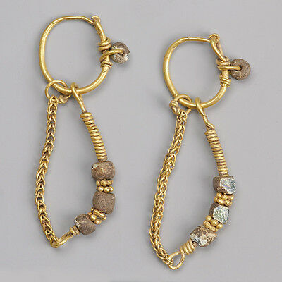 Roman Gold Earrings with Chain Drops