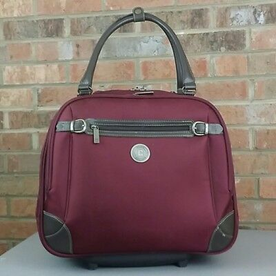 Chaps Maroon Red Rolling Carry On Laptop Bag Travel Tote Briefcase Wheeled