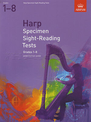 Harp Specimen Sight Reading Tests Grades 1-8 ABRSM Sheet Music Book Pedal & Non