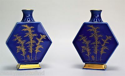 A Pair Of Miniature Fukagawa Vases Arita Porcelain Japanese Signed Gold