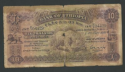 1932 Bank of Ethiopia 10 Thalers, Circulated Condition, Rare and 100% Original