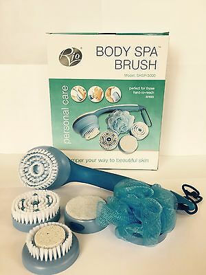 5 in1 Spin Spa Long-Handled Deep Cleaning Body, Brush Body Massager with 2 Speed