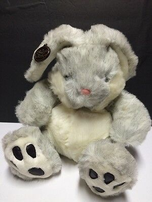 "Westcliff Collection Gray White Easter Bunny Rabbit 10"" Plush w Paw Pads Stuffed"