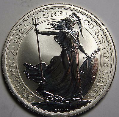 2004 UK BRITANNIA GREAT BRITAIN 1 OUNCE SILVER COIN - 2 POUNDS £2 Lot# N 462