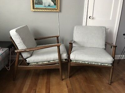 Danish Modern Mid Century Pair of Walnut Lounge Arm Chairs