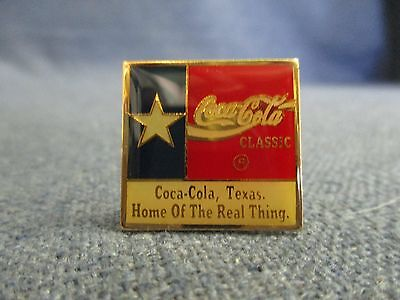 Coca Cola Coke Classic Texas Flag Home of the Real Thing Lone Star State Pin