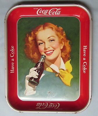 1948 1950 Coca Cola Tray, Girl With Wind in Her Hair