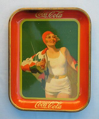 1930 Drink Coca Cola Meet Me at the Soda Fountain Serving Tray Bather Girl