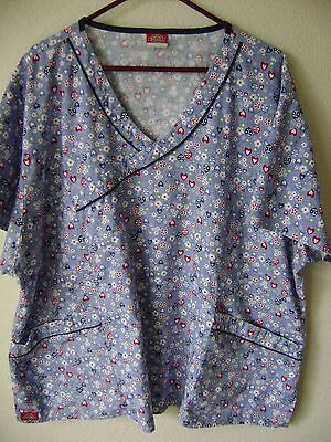 Dickies Women's Scrub Top Blue Floral Uniform Work Scrubs Medical Tops Plus 3X