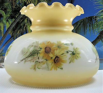 Old Beauty Pretty Yellow Flowers Glass Shade For Kerosene Oil Or Electric Lamps