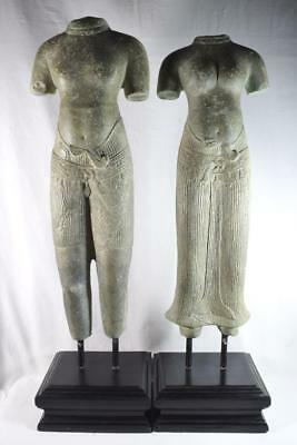 Cambodian Bronze Male and Female Buddha Statue Pair with Plinths 76cm Tall