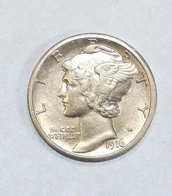 1916-S  Mercury Dime ALMOST UNCIRCULATED Silver 10c