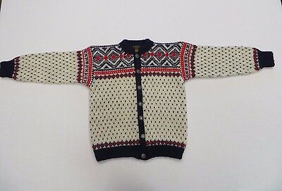 Vintage Rogaland Ullvarelag Norway Childs Virgin Wool Hand Knitted Sweater