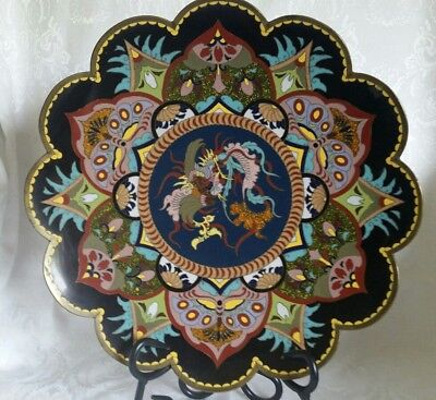"""Early Antique Chinese  Cloisonne Bronze Wire Enamel 12"""" Plate Dragon/Butterflies"""