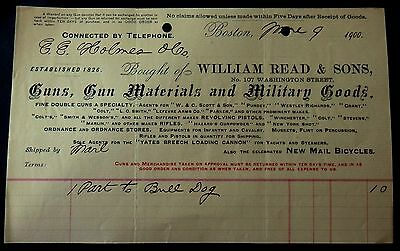 1900 Billhead WILLIAM READ & SONS - GUNS - MILITARY GOODS - MAIL BICYCLES - BOST